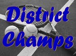tennis racket and balls captioned district champs
