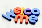 magnetic letters spelling welcome